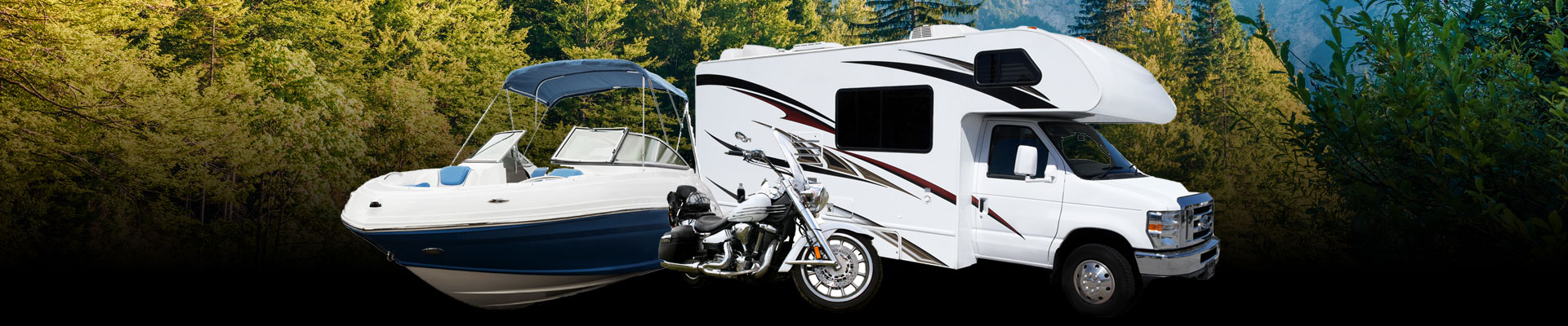 Motorcycle, boat, RV